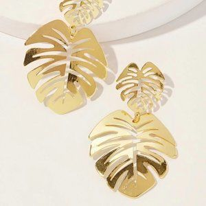 New! Tropical Palm Leaf Earrings